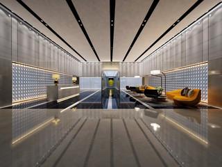 3d render luxury hotel lobby reception