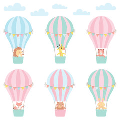 Set of cute animals in a hot air balloon. Vector illustration