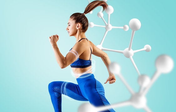 Sporty young woman runing and jumping near molecule chain.
