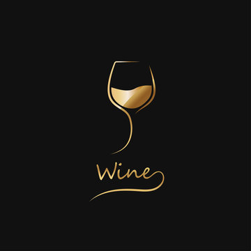Golden glass of wine. elegant icon, symbol,luxury logo alcohol. For the menu, bar, restaurant, wine list. Minimal.