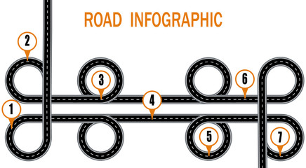 Infographics. A winding road and a circular motion with signs. The path specified by the navigator. illustration