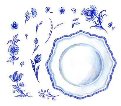 Set of blue floral pattern and plate, watercolor painting on white background, isolated.