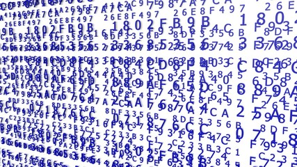 Blue Hexadecimal Codes on a white Background ( 3d Rendering)