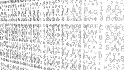 Gray Hexadecimal Codes on a white Background ( 3d Rendering)