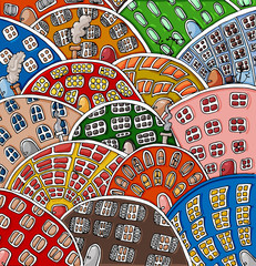 Set of doodle cute houses. Cozy cartoon hand drawn buildings in bright colors