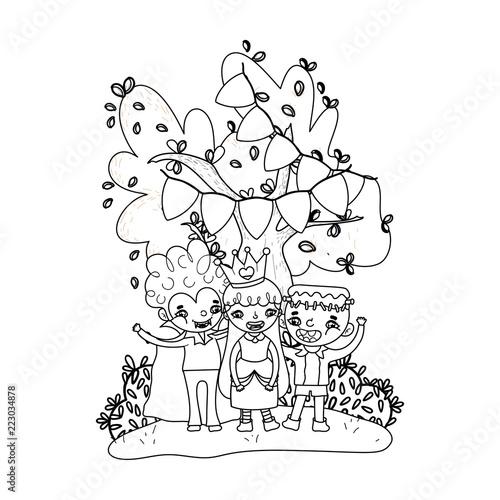 outline happy children friends with halloween costumes