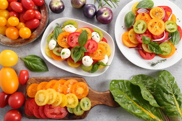 Tomato salad and colorful tomatoes.