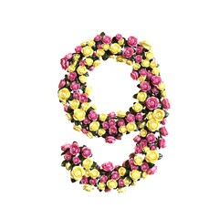 Flowered numbers floral collection 3d illustration