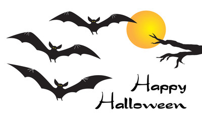 Happy Halloween card with scary flying vampire bats, yellow moon