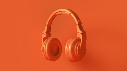 Orange Modern Headphones 3D illustration 3d render
