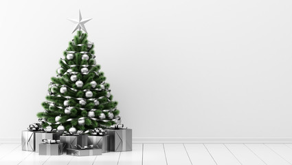 decorated christmas tree with gift boxes in white room Fototapete