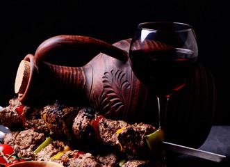 Traditional Georgian drink wine and kebab