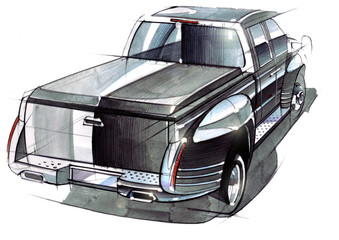 A sketch of a steep SUV pickup for outdoor activities.