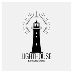lighthouse navigation logo vintage on white background