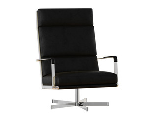 Office chair in black with high backrest on a white background 3d rendering