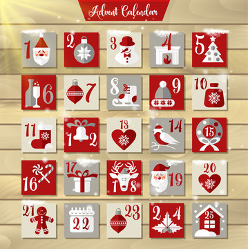 Christmas Advent Calendar or Poster. Winter Holidays Design Elements. Countdown Calendar.