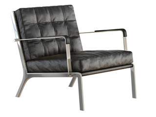 Black leather chair on a white background 3d rendering