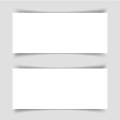 Mok-up of two narrow horizontal flyers with shadow on a gray background. Template for the presentation of banners, posters, postcards and invitations. Vector illustration.