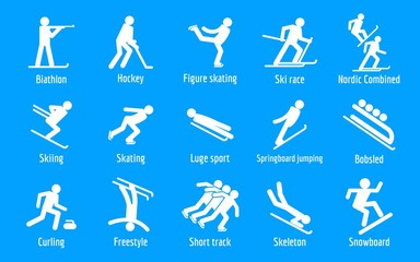 Winter games icons set. Simple set of 9 winter games vector icons for web isolated on white background