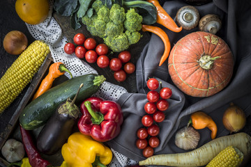 Fresh vegetables and fruits. Top view. Organic food.
