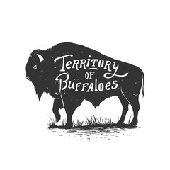 Fototapeta Vintage hand drawn badge.Territory of buffaloes .Vector illustration