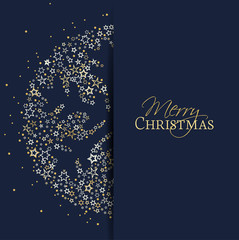 Vector illustration of a Christmas snowflake decoration made from stars. Happy Christmas background.