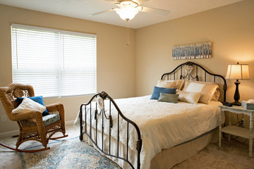 Bedroom in Neutral Tones with Blue Accents