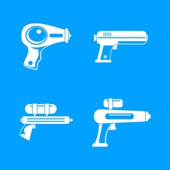 Squirt gun water pistol game icons set. Simple illustration of 4 squirt gun water pistol game vector icons for web