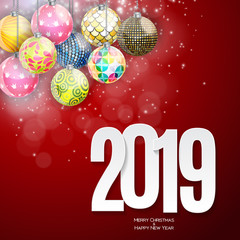 Happy New Year 2019 Background. Vector Illustration
