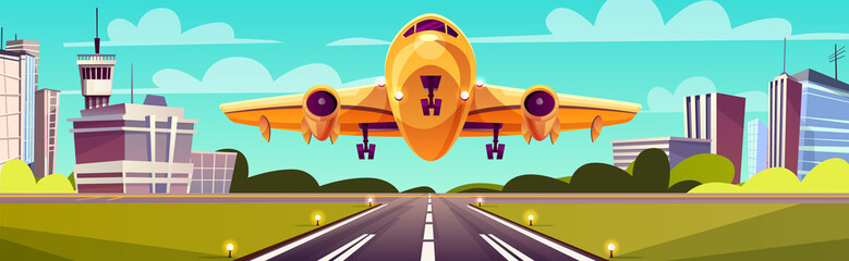 Vector cartoon illustration, yellow airliner, jet over runway. Takeoff or landing of commercial airplane against background of blue sky or airport building with control tower. Concept advertising