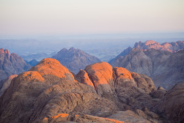 Dawn Summit early morning in the high mountains Mount Moses Sinai Egypt