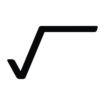 A black and white silhouette vector of a square root symbol
