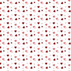Pattern black hearts Vector illustration. Simbol love and Valentine's Day background. red pink heart on white background