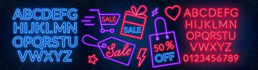 Fototapete - The template for the discount. Neon blue and red alphabets with numbers.