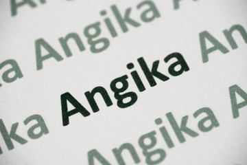 word Angica language printed on paper macro
