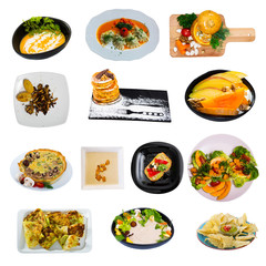 Meatless dishes isolated on white background