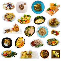 Set of vegetarian dishes