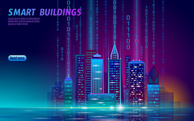 Smart city 3D neon glowing cityscape. Intelligent building automation night futuristic business concept. Web online vivid color cyberpunk retrowave. Urban technology banner vector illustration Fotomurales