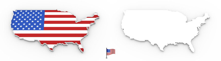 3D map of USA white silhouette and flag