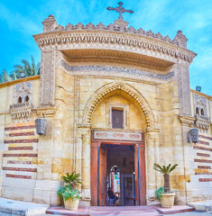 The entrance to Saint Mary Church in Coptic neighborhood in Cairo, Egypt