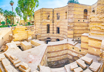 Panorama of Babylon Fortress in Cairo, Egypt