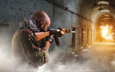 Terrorist shoots from rifle, explosion in corridor