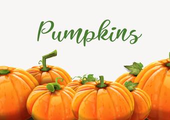 Background of orange autumn pumpkins.