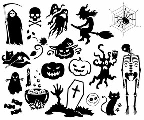 Halloween, set, icon, pictogram, Vektor
