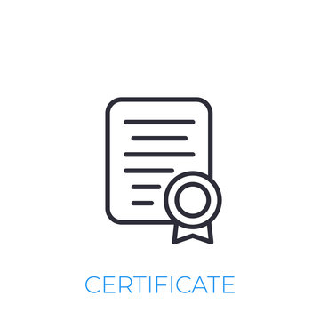 certificate icon, line style