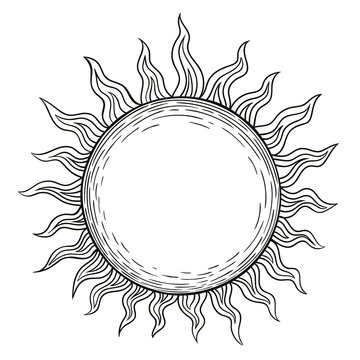 The sun, a linear drawing in the style of engraving black lines