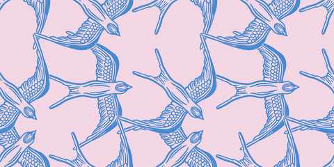 Seamless pattern background with linear swallows.