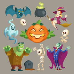 Vector Halloween characters - scary vampire, spooky Frankenstein and pretty witch. Cartoon skeletons, bat, pumpkin - jack-o-lantern isolated on gray background. Cute elements for the October holiday.