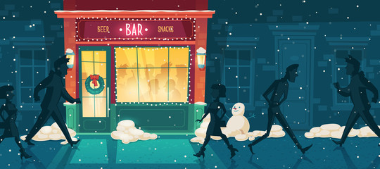 Vector background with beer bar at winter, Christmas Eve. People on the street and inside the establishment. Facade, entrance with illumination, signboard and wreath. Outdoor architecture background.
