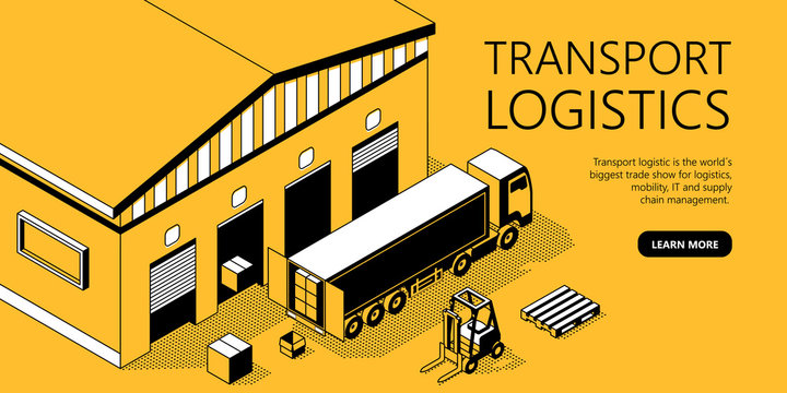 Vector 3d isometric site template with warehouse, truck. Thin line art, portal with button for transport logistics. Yellow background with goods and storage. Commercial shipping for internet page.
